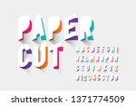 paper cut typography  alphabet... | Shutterstock .eps vector #1371774509