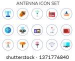 antenna icon set. 15 flat... | Shutterstock .eps vector #1371776840