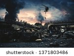 helicopter and forces in...   Shutterstock . vector #1371803486