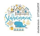 scandinavia. hand lettering... | Shutterstock .eps vector #1371816959