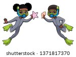 full length illustration of two ... | Shutterstock .eps vector #1371817370