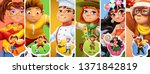 little children in costumes.... | Shutterstock .eps vector #1371842819
