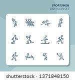 sportsmen line icon set.... | Shutterstock .eps vector #1371848150