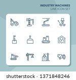 industry machines line icon set.... | Shutterstock .eps vector #1371848246