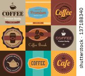 Set of vintage coffee badges and labels. - stock vector