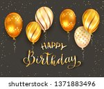 golden lettering happy birthday ... | Shutterstock .eps vector #1371883496