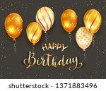 golden lettering happy birthday ... | Shutterstock .eps vector #1371883496