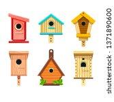 Wooden Birdhouses Vector...