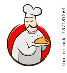 symbol of a chef holding food... | Shutterstock .eps vector #137189264