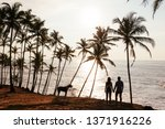 wedding travel. silhouette of... | Shutterstock . vector #1371916226