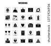 wedding solid glyph icons set...