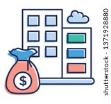 flat financial institution icon ... | Shutterstock .eps vector #1371928880