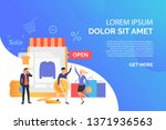 happy people buying clothes in... | Shutterstock .eps vector #1371936563