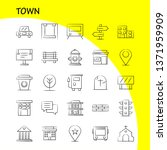 town hand drawn icons set for...