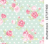 seamless cute vintage rose ... | Shutterstock .eps vector #137197400