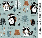seamless childish pattern with... | Shutterstock .eps vector #1371995840