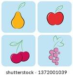 berries and fruits. flat design.... | Shutterstock .eps vector #1372001039
