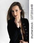 young caucasian girl | Shutterstock . vector #137201648