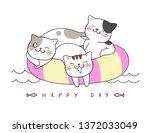 draw vector cat sleep on swim... | Shutterstock .eps vector #1372033049