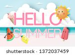 hello summer with tropical... | Shutterstock .eps vector #1372037459