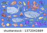 marine life collection of...   Shutterstock .eps vector #1372042889
