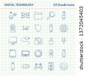 digital technology 25 doodle... | Shutterstock .eps vector #1372045403