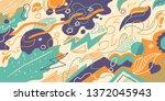 abstract retro illustration in... | Shutterstock .eps vector #1372045943