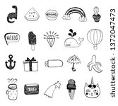 vector set of sketch icons.... | Shutterstock .eps vector #1372047473
