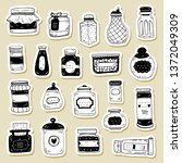 vector set of condiment bottle... | Shutterstock .eps vector #1372049309