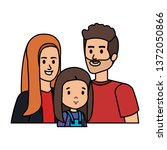 parents couple with daughter... | Shutterstock .eps vector #1372050866