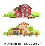 summer outdoor picnic in yard... | Shutterstock .eps vector #1372065539