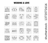 wedding and love line icons set ...