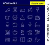 home wares hand drawn icons set ...