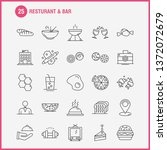 restaurant and bar line icon...