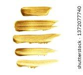 gold brush stroke paint set... | Shutterstock .eps vector #1372077740