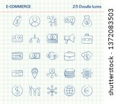 e commerce 25 doodle icons.... | Shutterstock .eps vector #1372083503