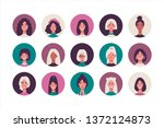 vector set of female avatars in ... | Shutterstock .eps vector #1372124873