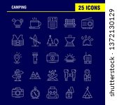 camping line icons set for...