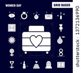 women day solid glyph icons set ... | Shutterstock .eps vector #1372136990