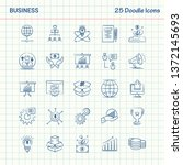business 25 doodle icons. hand... | Shutterstock .eps vector #1372145693