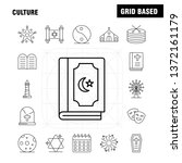 culture line icons set for...