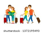 couple traveling vector  man... | Shutterstock .eps vector #1372195493