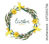 happy easter. lettering. floral ... | Shutterstock .eps vector #1372201736