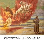 Small photo of CATANIA, ITALY - APRIL 7, 2018: The fresco Prophet Elias ascending into Heaven in the chariot of fire in church Santuario della Madonna del Carmine by Natale Attanasio (1898).