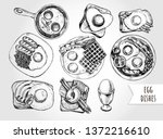 ink hand drawn set of various... | Shutterstock .eps vector #1372216610