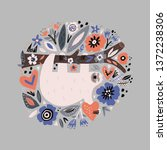 sloth flat hand drawn circle... | Shutterstock .eps vector #1372238306