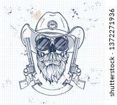 sketch  skull with cowboy hat ... | Shutterstock .eps vector #1372271936