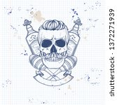 hand drawn sketch  skull with... | Shutterstock .eps vector #1372271939