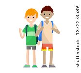 two student friend with... | Shutterstock . vector #1372273589