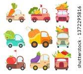 cute trucks with giant fresh... | Shutterstock .eps vector #1372295816